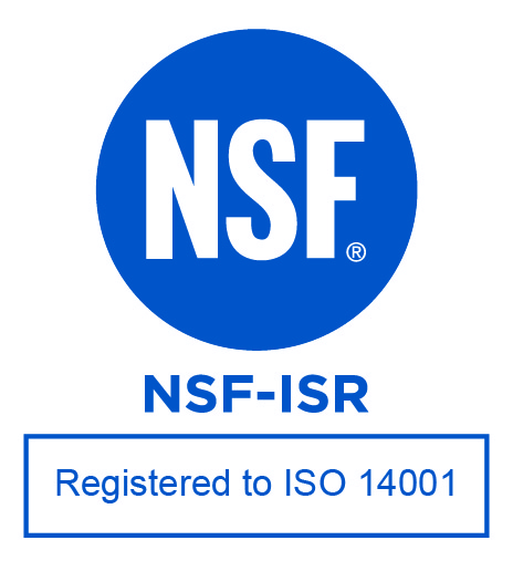 NSF International Registered to International Organization for Standardization 14001 logo